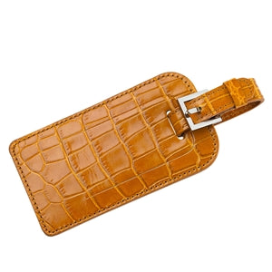 Personalized Crocodile Embossed Leather Luggage Tag