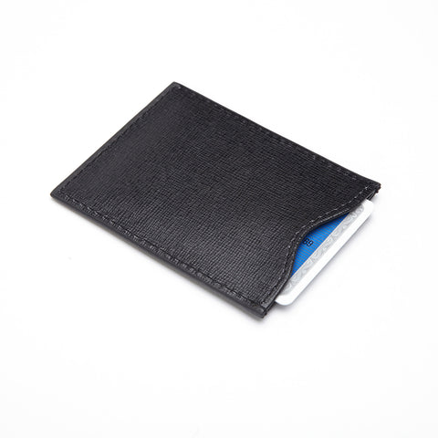 Personalized RFID Blocking Credit Card Sleeve in Saffiano Genuine Leather