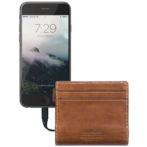 The Slim Lightning Leather Brown Charging Wallet