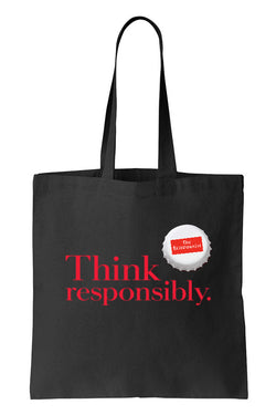 Tote bag: Think responsibly. (Black-100% Cotton)
