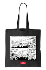 Tote bag: Buy! Buy! Sell! from Kal (Black-100% Cotton)