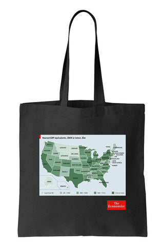 Tote bag: GDP equivalent states (Black-100% Cotton)