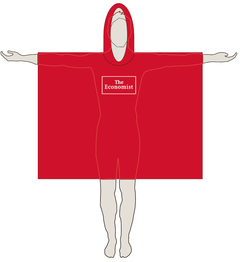 The Economist Red Lightweight Screened Rain Poncho