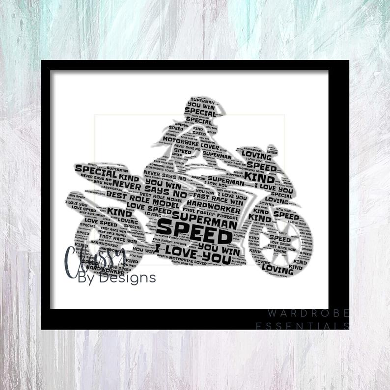 Personalised teenagers frame with personalised message, motorbike frame, birthday gift