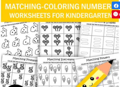 Kindergarten Worksheets - Matching - Coloring Numbers Shapes