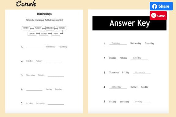 Days Of The Week Worksheets w/Answers
