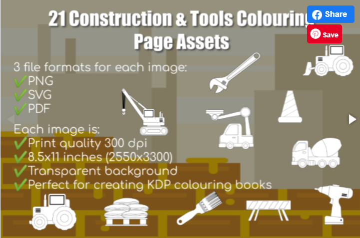 21 Construction & Tools Colouring Pages