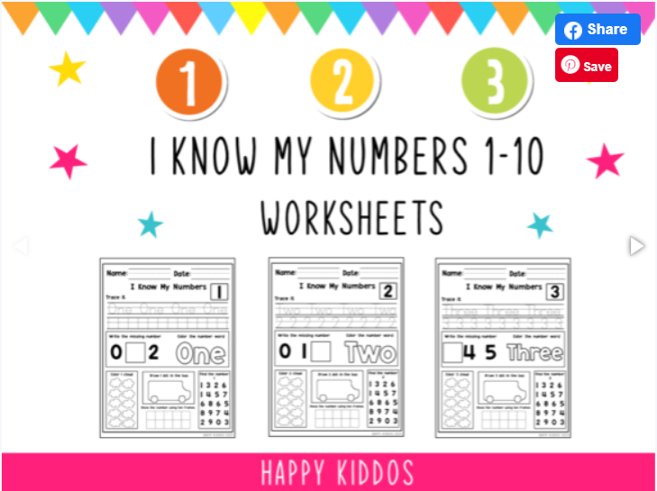 I Know My Numbers 1-10 worksheets for children