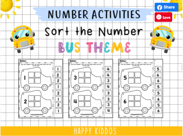 Number activities worksheets (bus theme) for children