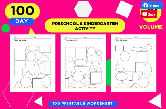 Children's colour the shapes worksheets