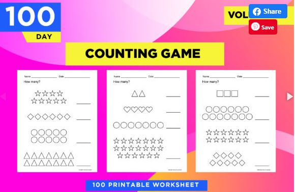 Counting game worksheet for children