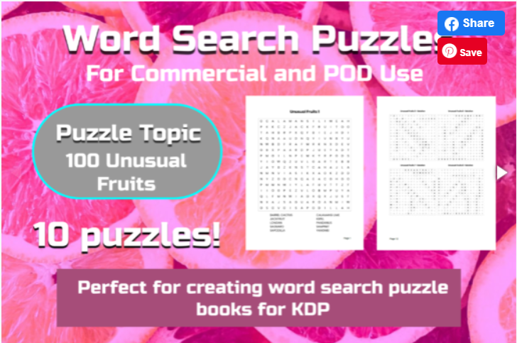 10 Word Search Puzzles | Unusual Fruits