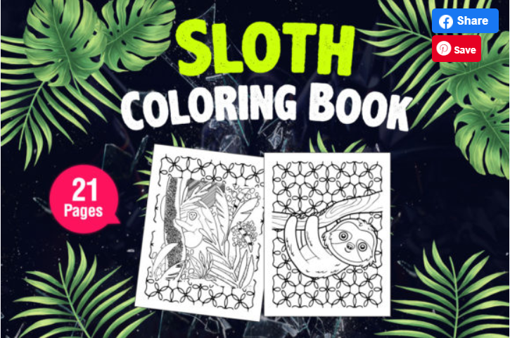 Kids Coloring Page with Cute Sloth