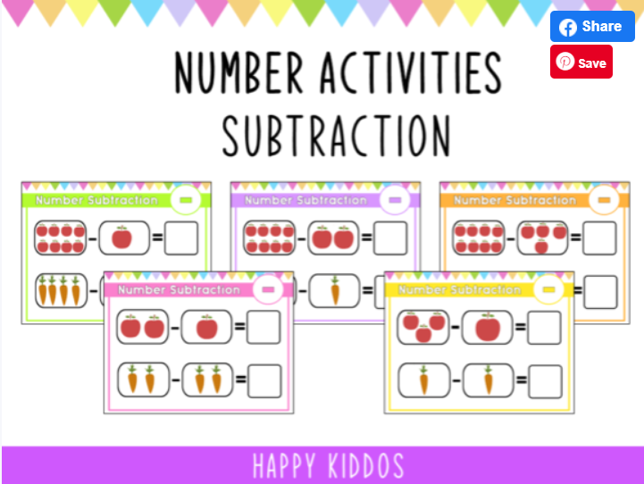 Number activities- subtraction worksheet for children