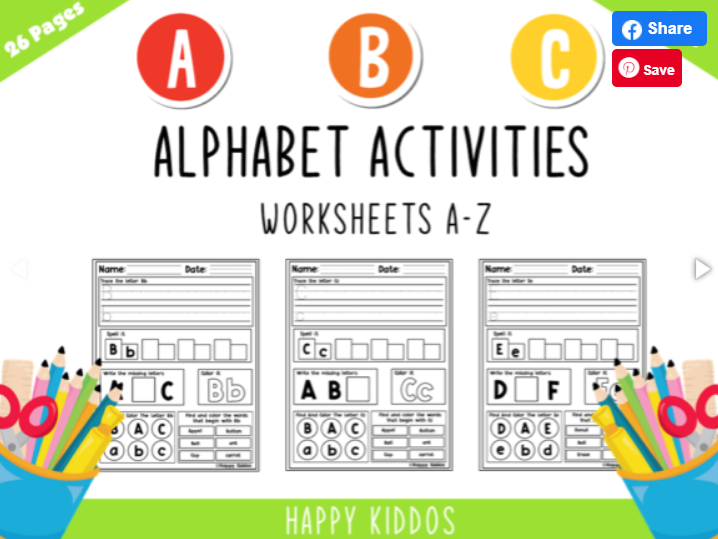 Children's alphabet activities worksheet