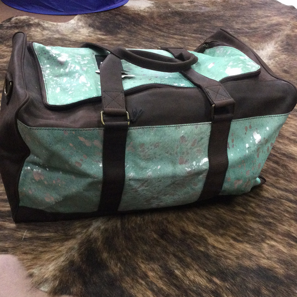 American Darling Turquoise Acid Wash Hair On Duffle
