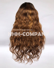 20 Inch Virgin Hair Ombre color Natural Wave Glueless Lace Front Wig