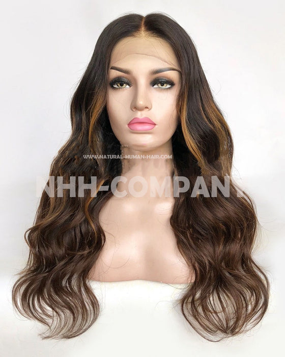 20Inch Wavy Virgin Russian fede Hair Glueless Lace Front Wig