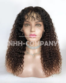 16 Inch Ombre Color Russian fede Virgin Hair Curly Glueless Full Lace Wig