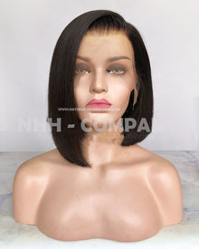10inch Bob Style Natural Color Virgin Human Hair Glueless Lace Front Wig