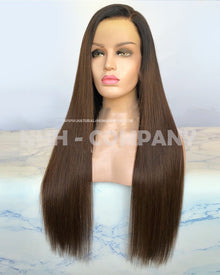 24 Inch Silky Straight Ombre Color Virgin Hair Lace Front Wig