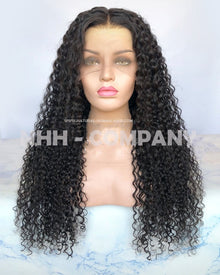 24 Inch Natural Color 10mm Curly  Virgin Human Hair Lace Front Wig