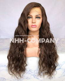 24inch color #4 Natural Wavy 180% Density Human Hair Lace Front Wig