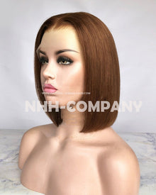 10 Inch Virgin Hair Bob Straight  150% Glueless Lace Front Wig