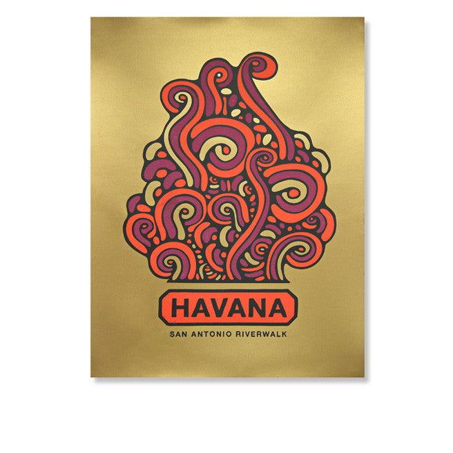 Havana Red & Gold Poster