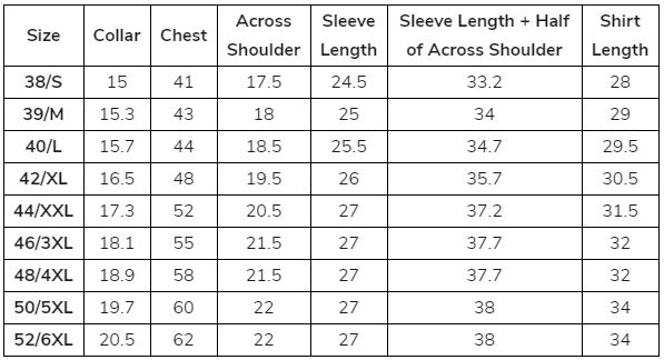 Men's Shirt Size in inches USA