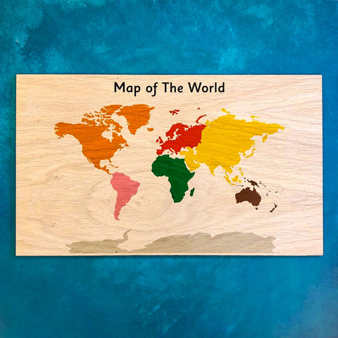 Montessori Wooden Display Board - Atlas Map of the World