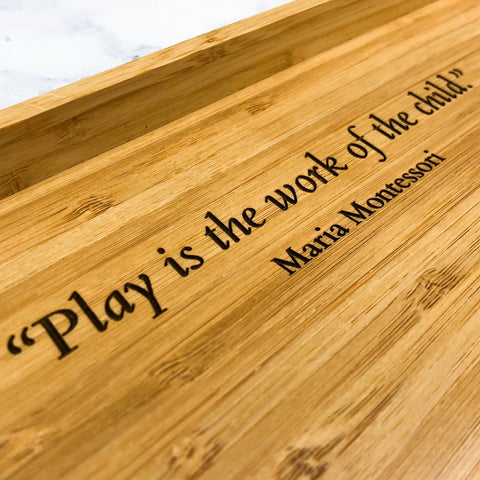 Personalised Bamboo Montessori Activity Play Tray with Maria Montessori Quote