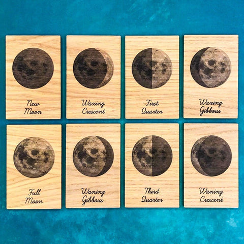 Montessori Learning Tiles - Phases of the Moon