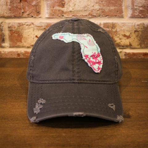 Applique State Distressed Hat