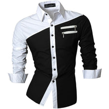Load image into Gallery viewer, Jeansian Men's Casual Dress Shirts Fashion Desinger Stylish Long Sleeve Slim Fit 8371 Black2