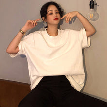 Load image into Gallery viewer, oversize Tee Shirt 7 Solid Color Basic T-shirts Women Casual Harajuku Summer new long Tops Korean Hipster White T Shirt