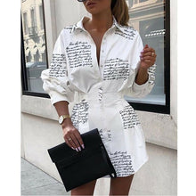 Load image into Gallery viewer, Meihuida Summer Autumn Women Long Sleeve Mini Shirt Dress Button V Neck Three Quarter Sleeve Waist Collection Blouses Dress