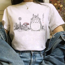 Load image into Gallery viewer, Totoro Studio Ghibli Harajuku Kawaii T Shirt Women Ullzang Miyazaki Hayao Tshirt Funny Cartoon T-shirt Cute Anime Top Tee Female