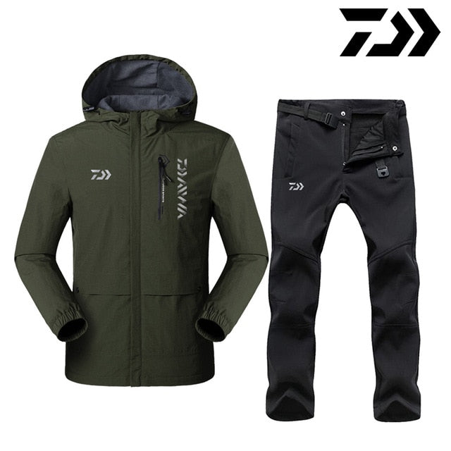 Reflective Daiwa Winter Fishing Clothing Sets Men Breathable Keep Warm Protection Outdoor Sportswear Clothes Fishing Clothes