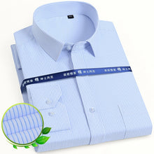 Load image into Gallery viewer, Men's Classic Long Sleeve Solid/striped Basic Dress Shirts Single Patch Pocket Formal Business Standard-fit Office Social Shirt