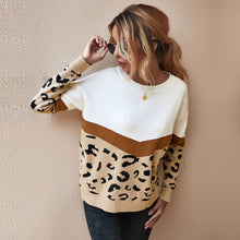 Load image into Gallery viewer, Fashion Leopard Patchwork Autumn Winter 2020 Ladies Knitted Sweater Women O-neck Full Sleeve Jumper Pullovers Top Khaki Brown