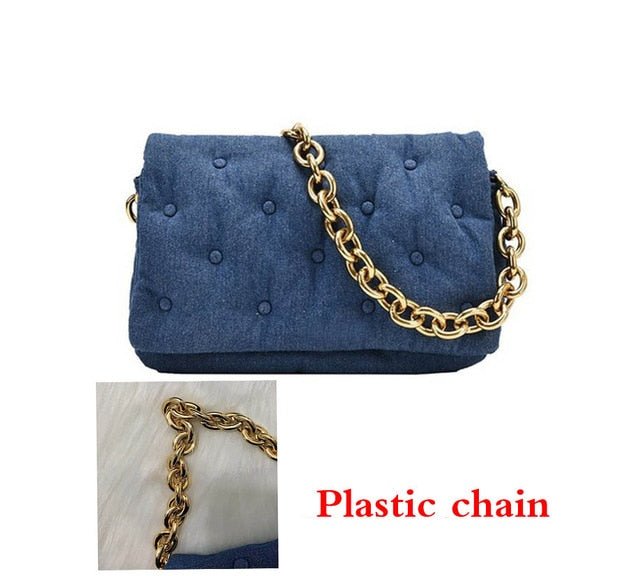 Women's Shoulder Bags 2020 Denim Quailty Thick Metal Chain Shoulder Purses And Handbag Women Clutch Bags Ladies Armpit Bag