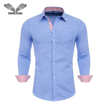 Load image into Gallery viewer, VISADA JAUNA US Europe XXL 2018 Men Shirt Solid Color Cotton Casual Business Male Brand Clothing Chemise Homme Blue Dress