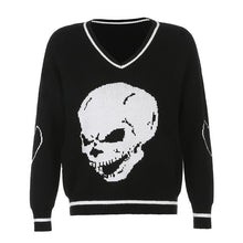 Load image into Gallery viewer, Rapcopter Y2K Sweaters Skulls Pullovers V Neck Knitwear Loose Casual Knitted Tops Women Streetwear Retro Tops Blue 2020 Autumn