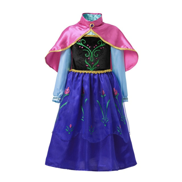 Anna Dress For Girl Kids Princess Dress Up Frock Children Carnaval Cosplay Costumes Teenager Girl Halloween Party Robe