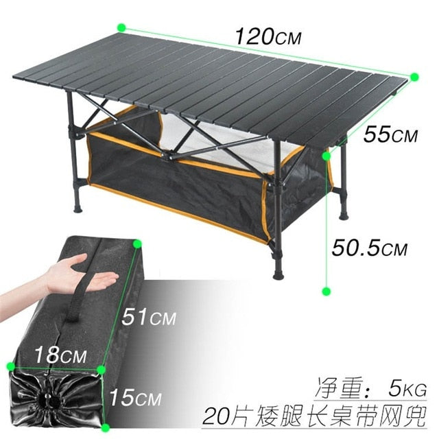 New Outdoor Folding Table Chair Camping Aluminium Alloy BBQ Picnic Table Waterproof Durable Folding Table Desk