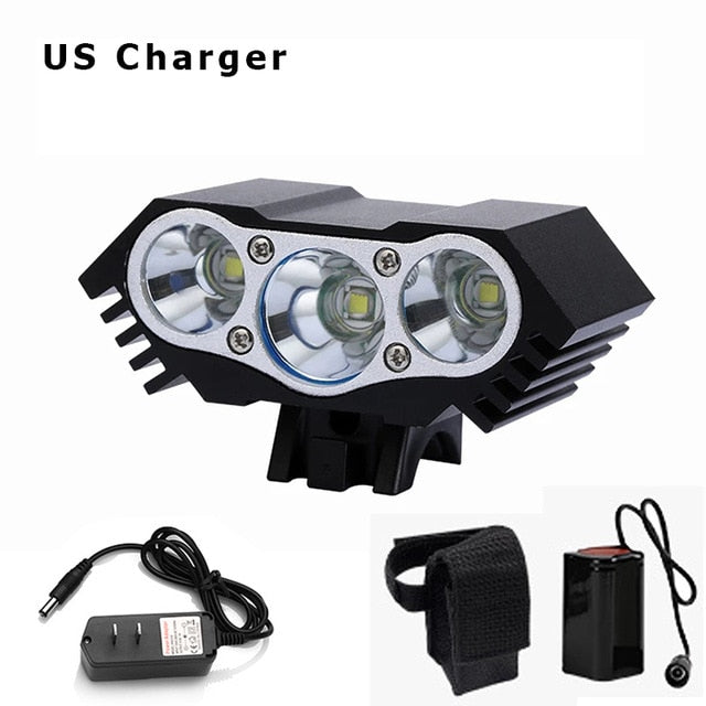 Super Bright Bicycle Front Light 3xT6 LED Outdoor MTB Road Bike Headlight Waterproof Safe Cycling Lamp With Battery Pack BC0533