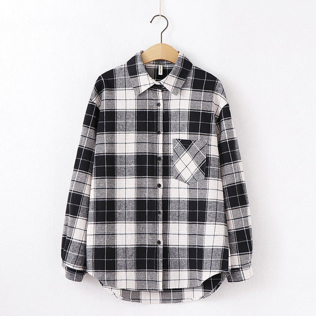 2021 Fashion Women Plaid Shirt Chic Checked Blouse Long Sleeve Female Casual Print Shirts Loose Cotton Tops Blusas Spring News