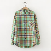 Load image into Gallery viewer, 2021 Fashion Women Plaid Shirt Chic Checked Blouse Long Sleeve Female Casual Print Shirts Loose Cotton Tops Blusas Spring News
