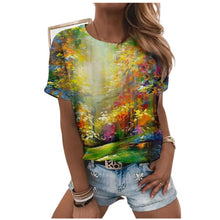 Load image into Gallery viewer, 5XL Oversized Ladies Tops Women Plus Size Floral 3D Print T Shirt Loose V-Neck Short Sleeve Casual Tee Top Summer New Streetwear